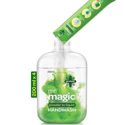 Godrej Protekt mr. magic Powder-to-Liquid Handwash - 4 Refills (makes 800ml), 99.9% Germ Protection