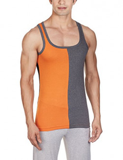 Chromozome Men's Cotton Vest (TE-04_TE04_Orange, Charcoal and Black_S)