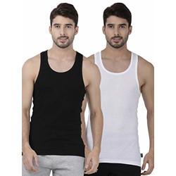 one8 by Virat Kohli Men's Solid Vest (Pack of 2) (109G-BLACK/Black/White_xx-Large)