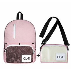 CLAE India Transform 1.0, Leather 2-in-1 Canvas Laptop Backpack, 16 Ltrs, with Interchangeable Pouches (Bubblegum Pink_CI-1.0)