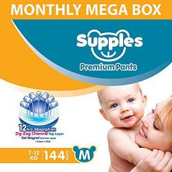 Supples Baby Diaper Pants, Monthly Mega-Box, Medium (7 - 12 kg), 144 Count