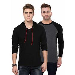 [Pack of 2] Katso Mens Full Sleve Combo Tshirts for Men_S Black
