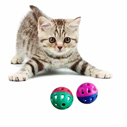 The Pets Company Kitten Interactive Toy Ball, Cat Ball with Bell Teaser, Set of 2, 1.5 Inches