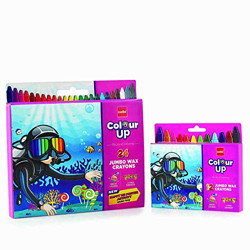 Cello ColourUp Wax Crayon Jumbo - Pack of 2| 24 Bright Shades in one Pack + 12 Bright Shades in Second Pack | 2 Times Stronger Body in Jumbo Sized Crayons | Non-Toxic | Ideal for Gifting