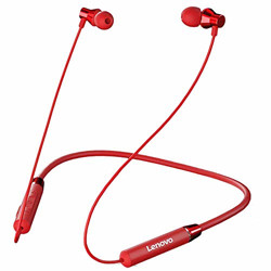 Lenovo HE05 Wireless Bluetooth Earphones, in-Ear Neckband Headphone with Mic (Red)
