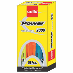 Cello Power Line Highlighter - Pack of 10 (Multicolor)