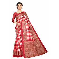 Clothzy Cotton with Blouse Piece Saree (Amaze RED