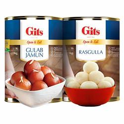 Gits 2Kg Gulab Jamun + Rasgulla Combo (1Kg Gulab Jamun Tin + 1Kg Rasgulla Tin)