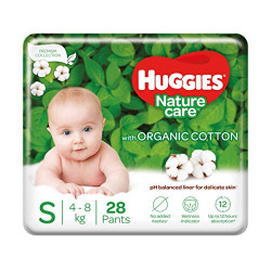 Huggies Nature Care Pants, Small (S) Size Baby Diaper Pants, 28 Count, Natures gentle protection with organic cotton