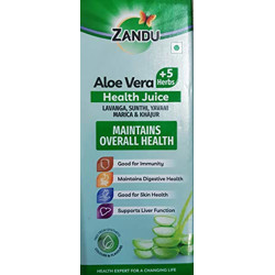 Zandu Aloe and 5 Herbs Juice   Good for Digestive Health, Skin and Liver Function   Ayurvedic Immunity Booster   100% Organic Health Juice with No Added Sugar (500ml)