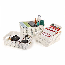 Cello Style Knit Small Basket Without Lid, Set of 3, Ivory