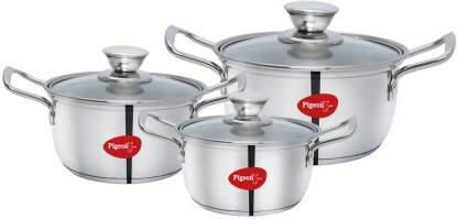 Pigeon Special Stainless Steel Conical Casserole 3 Set(16 18 20 CM) Induction Bottom Cookware Set  (Stainless Steel, 3 - Piece)