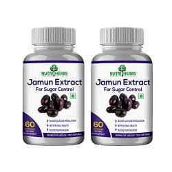 Nutriherbs 100% Natural & Organic Jamun Extract 800 Mg 60 Capsules (Pack of 2)
