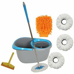 Fretol plastic Mop +4 Refill+Rod + Wiper +gloves- Grey/Blue