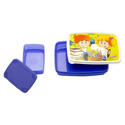 Signoraware Funtime Compact Plastic Lunch Box Set, 2-Pieces, Violet