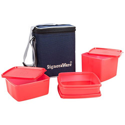 Signoraware Director Special Medium Lunch Box with Bag, Deep Red