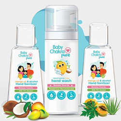 BabyChakra, Hand Sanitizer and Foaming Hand Wash Combo FDA Approved Safe for Babies and Kids Pack of 3, Tranparent