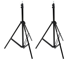 AmazonBasics Aluminum Light Photography Tripod Stand (Height Adjustable) with Case - Pack of 2