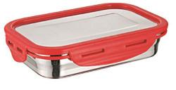 Signoraware Lock n Store Steel Rectangular with Steel Lid, 200ml, Set of 1, Red