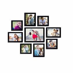 AG Crafts™ Wall Wood Photo Frames (Black, 9 Photos) 1/2  (Black)