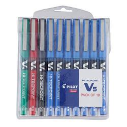 Pilot V5 Roller Ball Pen Pack of 10 ( 7 Blue , 1 Black , 1 Red , 1 Green)