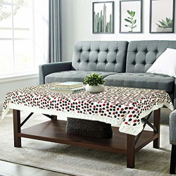 Amazon Brand - Solimo PVC Centre Table Cover, 60 x 40 inches, Circle, Brown