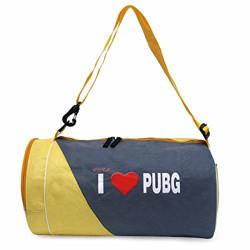 Skera I Love Pub G Gym Bag Duffle Bag Grey and Yellow one Side Pocket