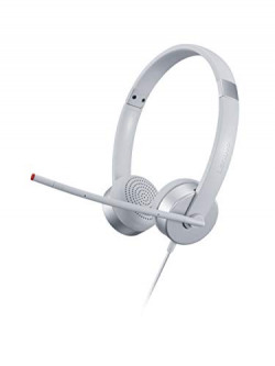 Lenovo 100 Stereo Wired Analog Headset 3.5mm Jack 30mm Audio Drivers Clear Audio and Voice for Learn and Work from Home (Cloud Grey)