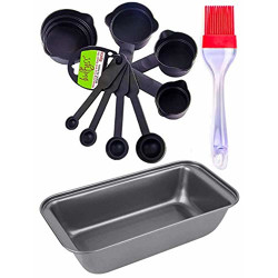 Bulfyss Popular Combo  Non Stick Outperform Bread Loaf Baking Tray Tin Pan, Food Grade 8Pcs Black Measuring Cups and Spoons Set and Silicone Brush