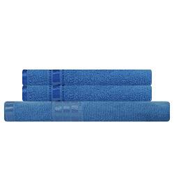 Eurospa Cotton Towel Set 380 GSM (Set of 3, Blue)