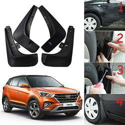 Oshotto Mud Flap (O.E.M Type) Compatible with Hyundai Creta 2015,2016,2017,2018,2019 (T-I) (Set of 4)