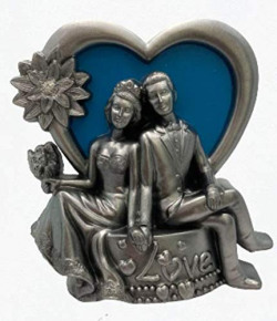 Shadwell Just Married Reception Couple Sitting with a Flower Bouquet Showpiece - 20 cm (Polyresin Silver Coated with Multicolor BG Assorted)