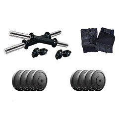 Aurion Home Gym Weight Lifting Pack 18 Kg with Genuine Leather Gym Gloves