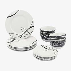 AmazonBasics 18-Piece Dinnerware Set - Cursive, Service for 6