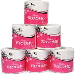 Blooms 2Ply Premium Toilet Paper/Toilet Tissue - 6 Single Rolls (280 Sheets Per Roll) Toilet Paper Roll(2 Ply, 280 Sheets)