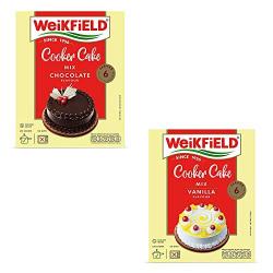Weikfield Cooker Cake Mix Combo - Pack of 2 (Chocolate, Vanilla)