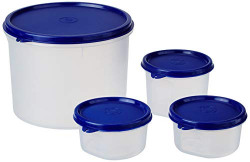 Amazon Brand - Solimo Round Plastic Containers, Set of 4 (1 x 310 ml, 2 x 225 ml, 1 x 2.2L), Blue