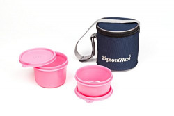 Signoraware Executive Plastic Small Lunch Box Set with Bag, 2-Pieces, Pink