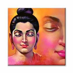 Pintura Spiritual Buddha Designer Canvas Painting # Wall Art # Home Décor # Art Paint # Unique Design # Size(12 inch x 12 inch) # UV Texture