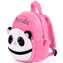 DZert Panda Kids School Bag Soft Plush Backpacks Cartoon Boys Girls Baby (2-5 Years) Pink