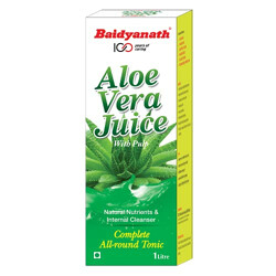 Baidyanath Aloe Vera Juice with Pulp - An All-Round Tonic for Skin and Hair - 1L