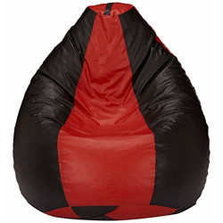 Amazon Brand - Solimo XXL Bean Bag Filled With Beans (Red and Black)
