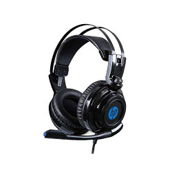 HP H200 Wired Over-Ear Gaming Headset with Rotatable mic LED Lighting Ergonomic Design for PC (Black) (8AA04AA)