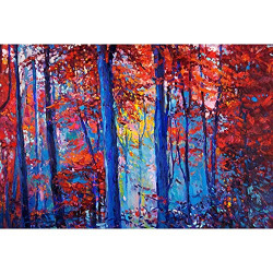 Pitaara Box Artwork of Autumn Forest D2 Canvas Painting MDF Frame 20.7 X 14Inch
