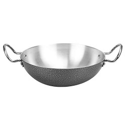 Sorabh SKC 5 Lid Stainless Steel Shallow kadhai (ALM CC) Plain with Lid Thickness 3.00mm with Dia-27cm
