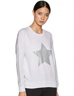Amazon Brand - Inkast Denim Co. Women's Cotton Blend Sweatshirt (AW19/DONNA/SW-02 , White , Medium)