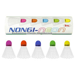 Nongi Neon Multicolor Colored Cork Badminton Plastic Shuttle for Outdoor and Indoor Badminton Sports Pack of 5 Made in India