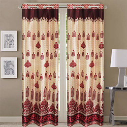Queenzliving Polyester Imperial Curtain for Door 7 feet- Pack of 2, Maroon