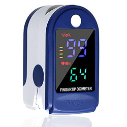 Generic Finger Pulse Oximeter with LED 4 Color Digital Display Blood Oxygen Saturation Detector for Pulse Rate and SpO2 Level, with Carrying Case, Batteries