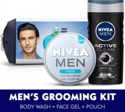NIVEA MEN Grooming Kit, Fresh Face Moisturizer Gel 75 ml, Active Clean Body Wash 250 ml, with Grooming Pouch(3 Items in the set)